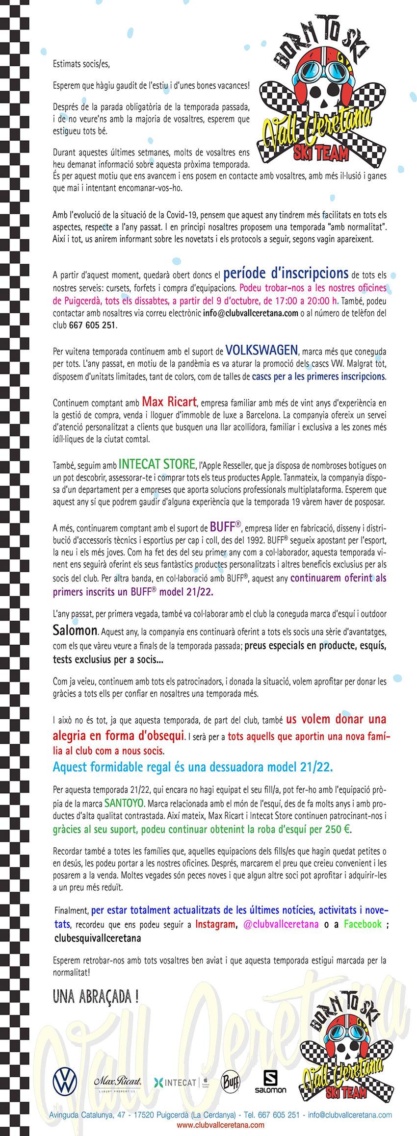 Carta de presentació de la nova temporada del club d'esquí